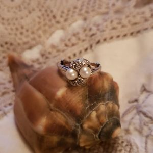 Vtg 14k pearl & diamond filigree ring